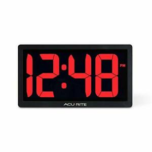 AcuRite 75099M 10-inch LED Digital Clock with Auto Dimming Brightness Red