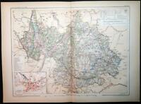 1901 ANTIQUE PRINT COLOUR MAP of SAVOIE Chambéry FRANCE French CARTE