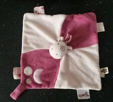 CHEVAL PONEY ROSE blanc étiquettes LUNE ATTACHE TÉTINE DOUDOU PLAT NOUKIE'S