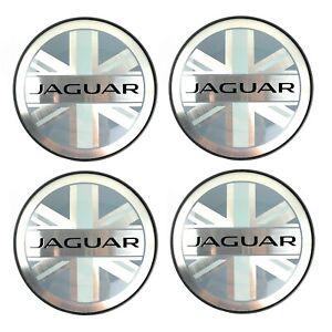 Jaguar Black Union Jack Wheel Center Caps XJ XK XF XE F-Type E-Pace GENUINE