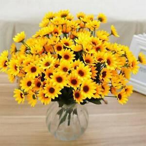 15-Heads Sunflower Bouquet Artificial Silk Fake Flowers Wedding Floral Decor USA