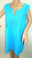 Woman Within Women's Plus Size 2x Blue Turquoise Linen Swing Top Cami Blouse