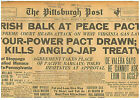 IRISH BALK AT FREE STATE PEACE TREATY DECEMBER 9 1921 NEWSPAPER 12-1921 B7