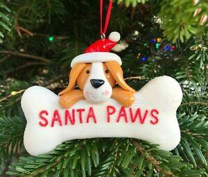 Santa Paws Bone Dog Christmas Tree Decoration Bauble Dog Lovers Gift Ornament