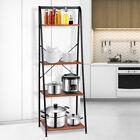 4 Tier Bookcase Wood Leaning Ladder Shelf Bookshelf Storage Plant Stand US'