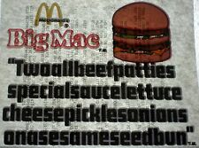 MCDONALDS IRON ON VINTAGE BIG MAC TWO ALL BEEF PATTIES SPECIAL SAUCE LETTUCE