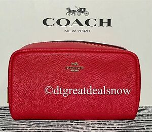 NWT Coach Electric Pink Boxy Cosmetic Case Gold Hardware 3590