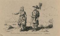 La Vinelli - Signed Italian 1894 Pen and Ink Drawing, Fisherman of Lake Fucino