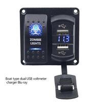 Universal Auto LED Nebel Licht Wippenschalter Dash Dashboard 12V 2 USB Voltmeter