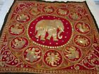 India Handmade Tapestry Sequins, Glass Beads, Embroidery Elephant Horoscope