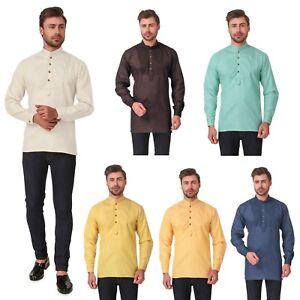 Men's Indian Cotton Short Kurta Casual Shirt Long Sleeve AN760