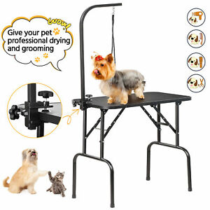 Portable Pet Dog Grooming Table Height Adjustable with Arm Noose & Folding Legs
