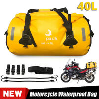 Motorcycle Waterproof Outdoor Backpack Travel Rear Tail Bag Luggage Yellow 40L