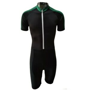2021 Full Grey/Black/Green Short Sleeve Cycling Skinsuit Jumpsuit Cycling Jersey