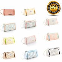 UK Double Zip Large Capacity Pen Pencil Case Bag School Stationery Cosmetic Bag