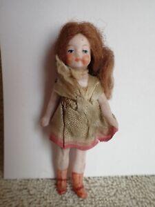 "Darling Antique Tiny All Bisque Doll Original Ribbon Dress 3"""
