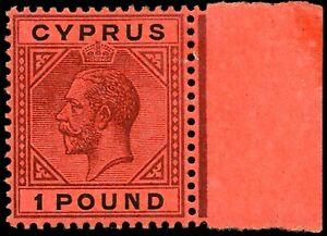 CYPRUS GEORGE V 1923 SG 101 £1 PURPLE&BLACK/RED RIGHT MARGINAL SUPERB MINT COND