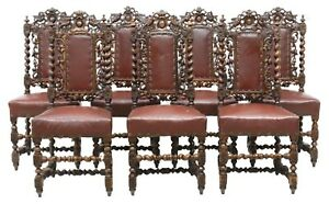 Antique Side Chairs, Dining , French HenriI II Style Carved Oak, Upholst, 1800's