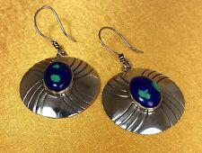 Vintage Antique SJ Fine Sterling Silver Dalmatian Gemstone Dangling Earrings