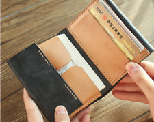 men women wallet purse cow Leather bank Card Case holder bifold bag black 868