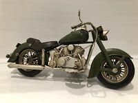 Metal Tin Vintage Classic Green Motor Bike Model Harley Davidson Cruiser Style