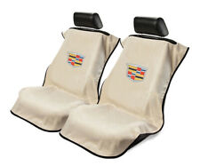 Seat Armour Universal Tan Towel Front Seat Covers with New Cadillac Logo -Pair