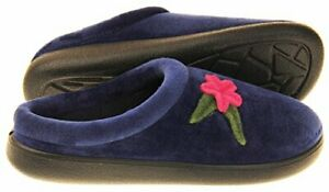 Coolers Womens Navy Blue Velour uppers Floral Mule Slippers size various New