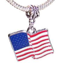 American Flag USA Red White Blue Enamel Dangle Bead for European Charm Bracelets