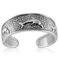 Adjustable Dolphin Toe Ring Solid Sterling Silver 925 Jewelry Gift 1.3 grams