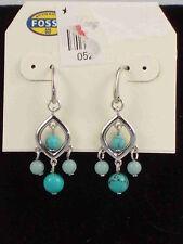 Fossil Brand Silvertone Turquoise Bead Drop Earrings JA5896 $34