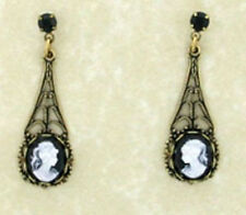 24k Gold Plt Victorian Filigree BezelSet Jet Black Cameo Surgical Steel Earrings