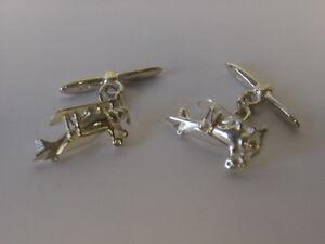 sterling silver aeroplane/ plane chain linked cufflinks UK made