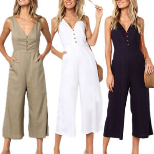 Summer Womens V Neck Sleeveless Jumpsuit Casual Party Romper Wide Leg Crop Pants