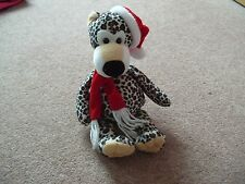 Giocattolo morbido Beanie Leopard Cappello di Natale con sciarpa e tag Nuovo di zecca con
