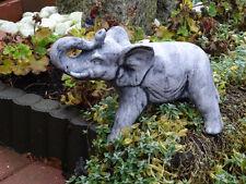 Steinfigur Elefanten Elefant klein schwarz patiniert Weißbeton