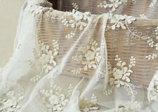 """Vintage 51"""" Wide Off White Corded Embroidery Bridal Lace Fabric Floral Lace 0.5Y"""