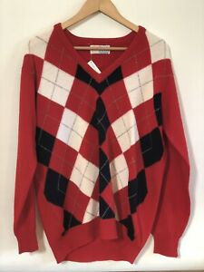 """PRINGLE for WEISS - Vintage + Tags Wool Jumper Red - Made in Scotland Large 44"""""""