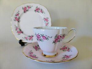 Colclough Pink Bone China Tea Trio, Vintage Tea Cup, Saucer + Plate, 1950s Roses
