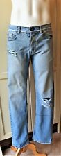 KSUBI: Men's Light Blue Denim Faded Distressed Jeans, Cut-Out Knee, Size:32