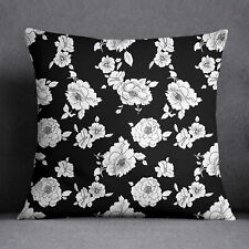 S4Sassy Floral Print Decorative Pillow Case Black Sofa Cushion Cover