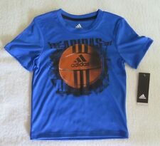 adidas Little Boys Basketball-Print Blue T-Shirt - Size 4 - NWT - MSRP$22.00