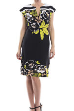 Joseph Ribkoff Black/Green Floral Cap Sleeve Tunic Dress Sz 8 (UK 10) New 173773