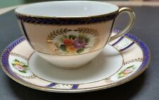Vintage Noritake Hand Painted Cup and Saucer M in Wreath Marking  Japan