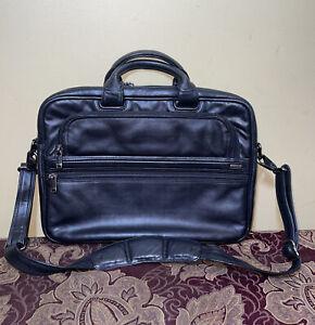 $345 TUMI Alpha Slim Black Leather Large Screen Portfolio Brief + XL Dust Bag