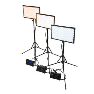 SkyFiller 1x2 70w BiColor LED Light, 3x Lighting Kit with Stands and Case