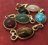 """Vintage Bracelet 7.5"""" Signed Seta Scarab Beetle Stones Carved Egyptian Revival"""
