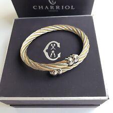 Charriol * Celtic Silver & Yellow Gold PVD Bangle Bracelet Medium 0481171