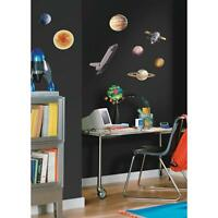 OUTER SPACE TRAVEL Wall Stickers 24 Planets Sun Stars Rocketship Decals Decor