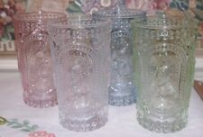 4 Vintage Look Hobnail Bunny Rabbit Drinking Glasses Tumblers Green Blue Easter