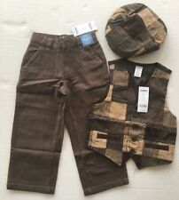 NWT Gymboree Holiday Pictures XS 3-4 Brown Herringbone Patchwork Vest Pants Hat